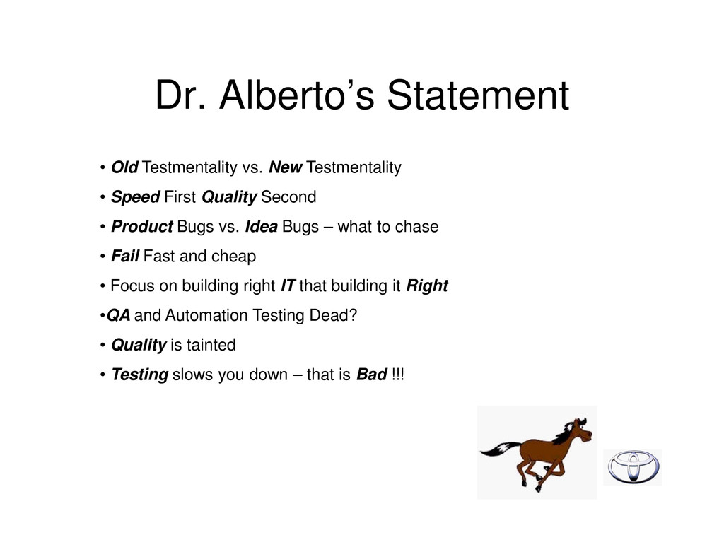 Dr. Alberto's Statement • Old Testmentality vs....