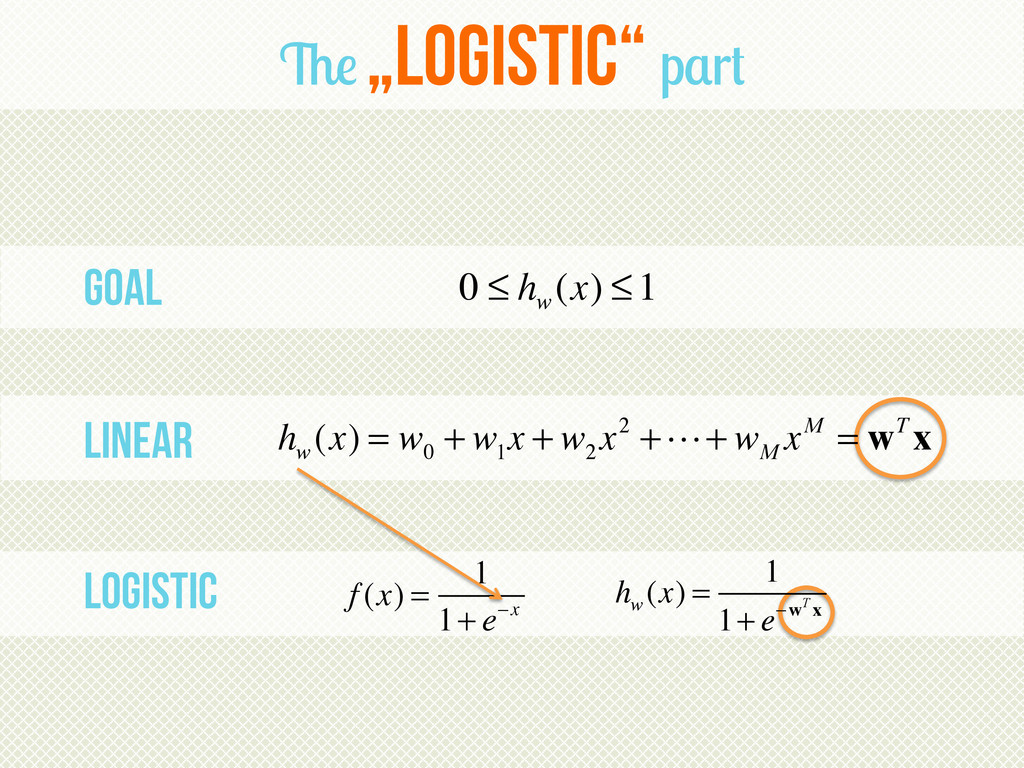 """Goal Linear logistic The """"Logistic"""" part 0 ≤ h ..."""