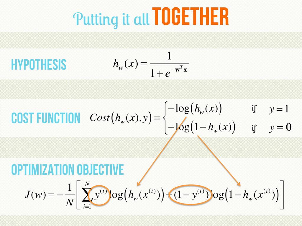Putting it all together J(w) = − 1 N y(i) log h...