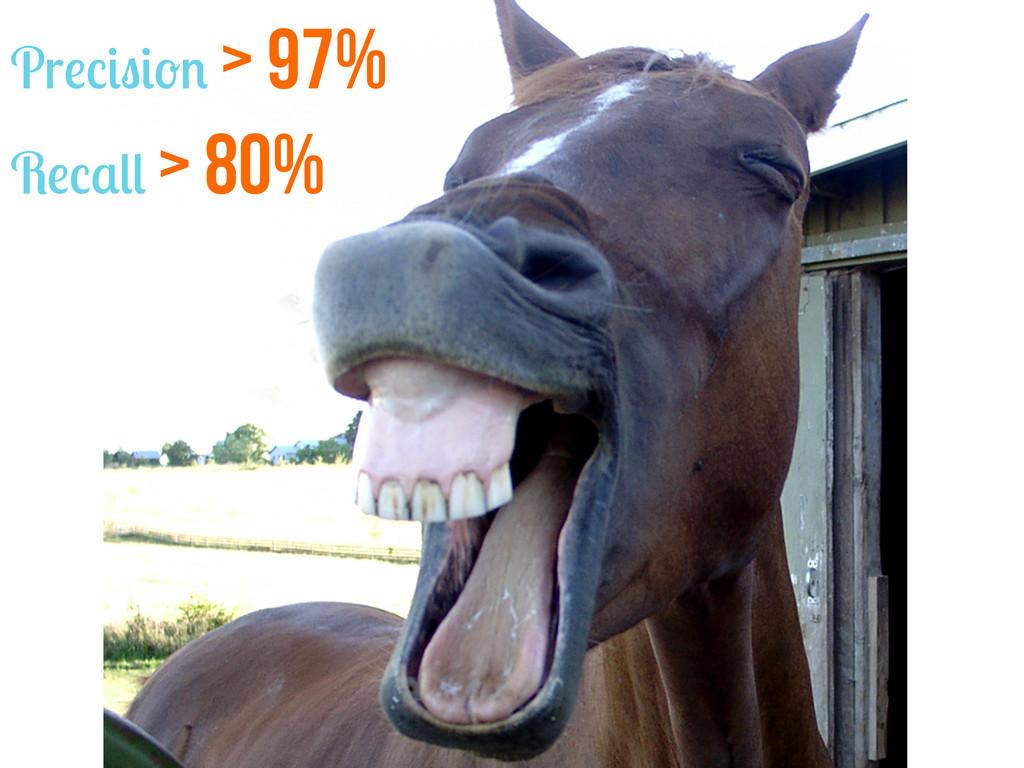 Precision > 97% Recall > 80%