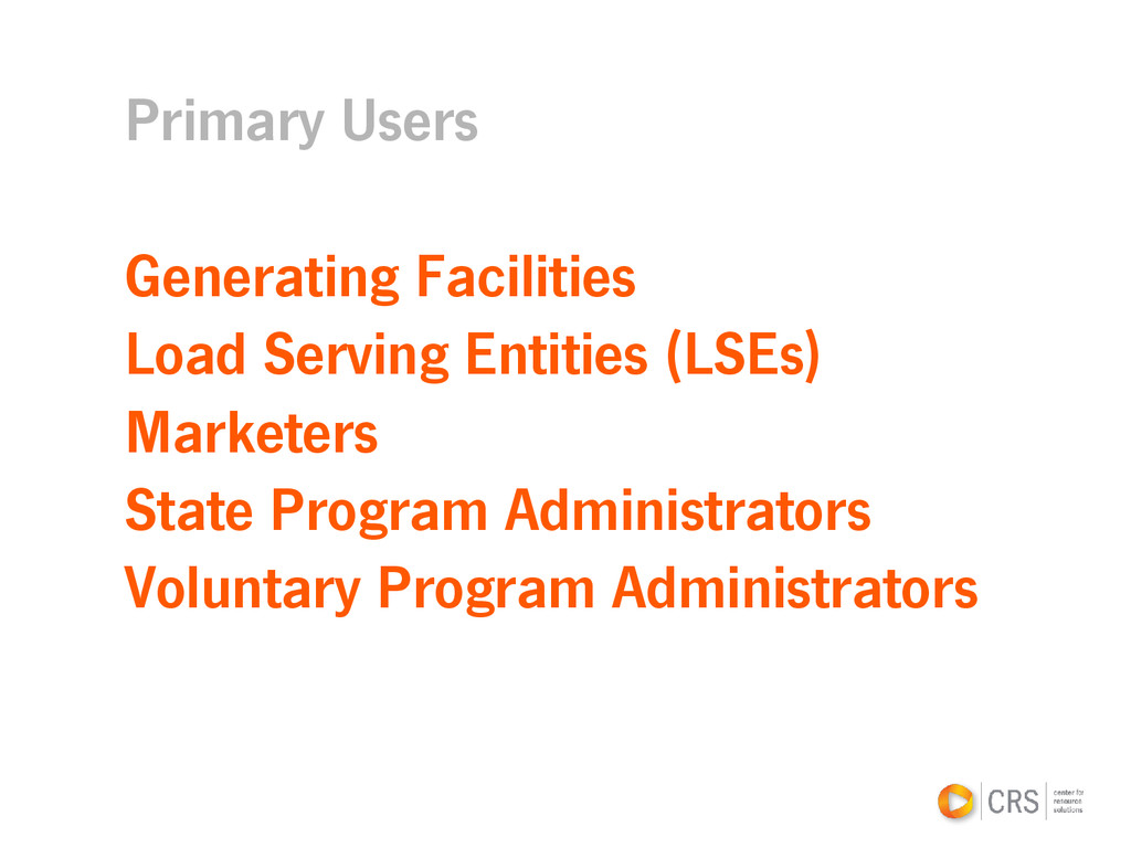 Primary Users Generating Facilities Load Servin...