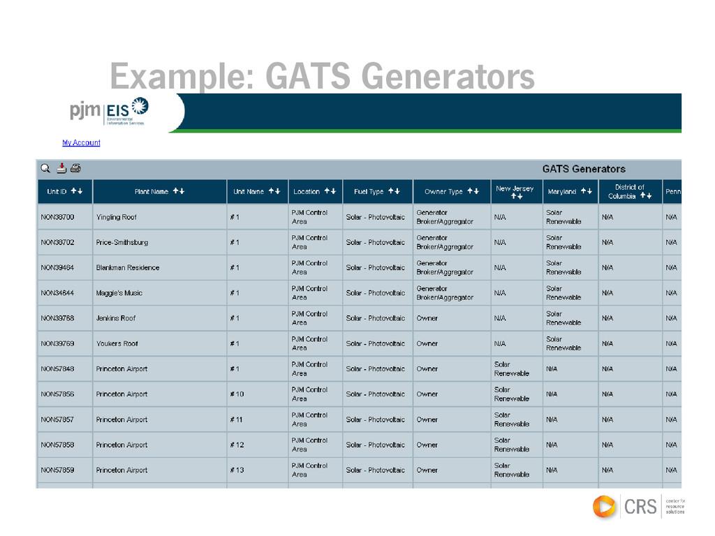 Example: GATS Generators