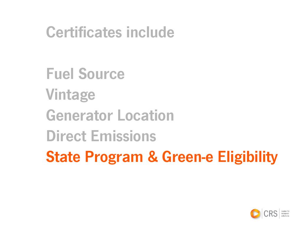 Certificates include Fuel Source Vintage Genera...