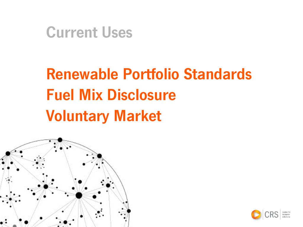 Current Uses Renewable Portfolio Standards Fuel...