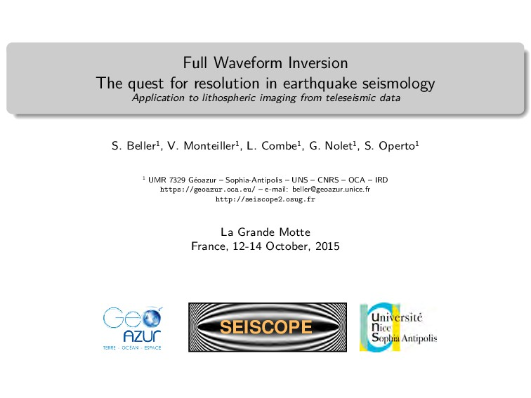 Full Waveform Inversion The quest for resolutio...