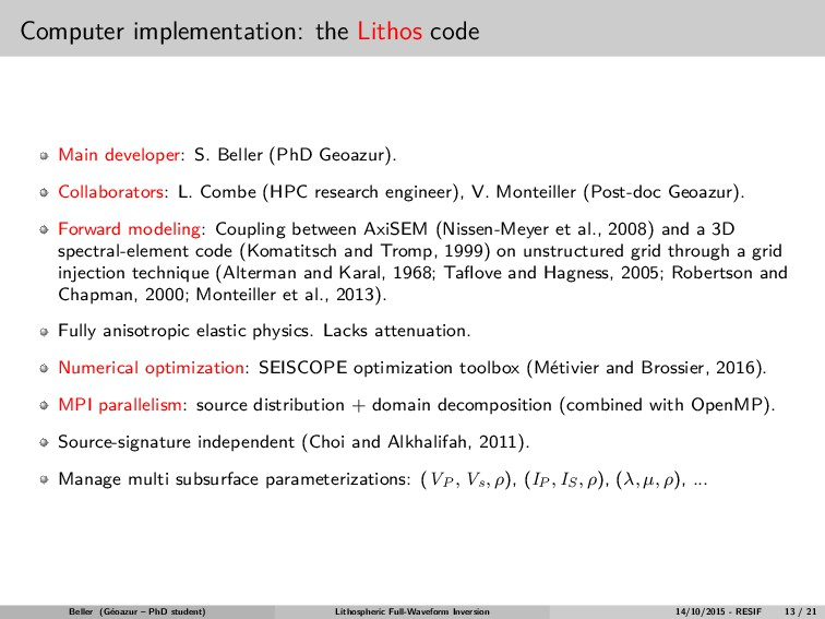 Computer implementation: the Lithos code Main d...