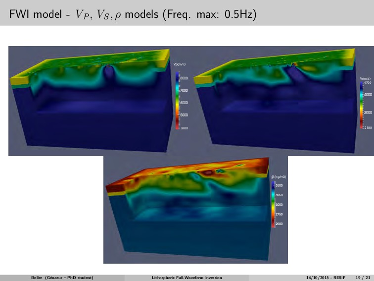 FWI model - VP , VS , ρ models (Freq. max: 0.5H...