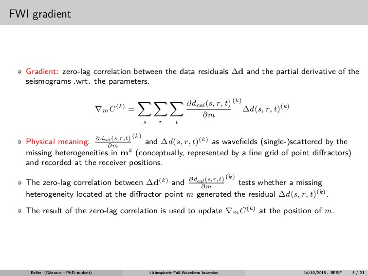 FWI gradient Gradient: zero-lag correlation bet...
