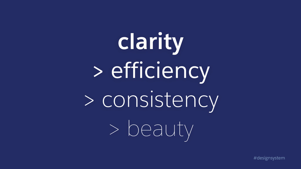 #designsystem clarity > efficiency > consistenc...
