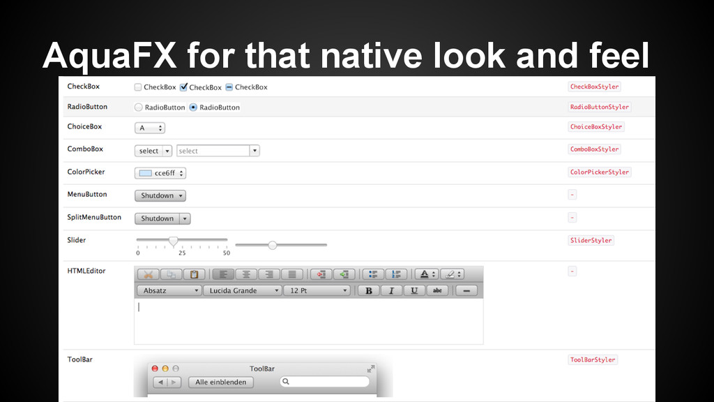 AquaFX for that native look and feel