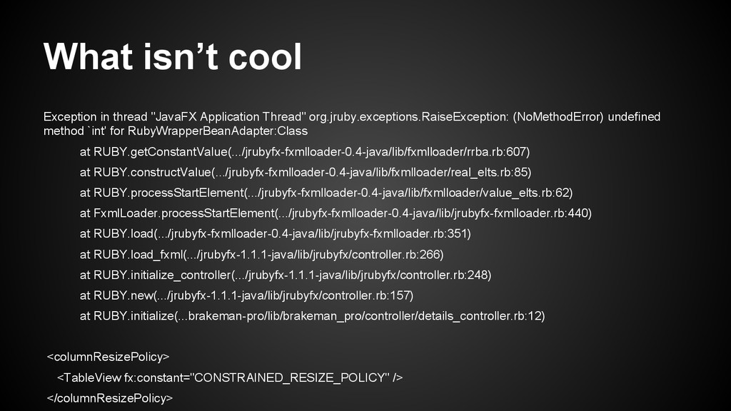 """What isn't cool Exception in thread """"JavaFX App..."""