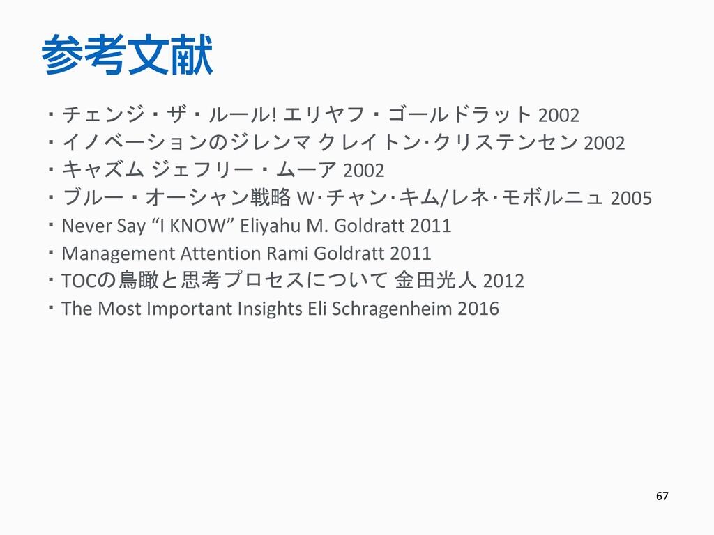 67 参考文献 ・チェンジ・ザ・ルール! エリヤフ・ゴールドラット 2002 ・イノベーション...
