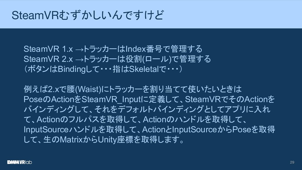 29 SteamVRむずかしいんですけど SteamVR 1.x →トラッカーはIndex番号...