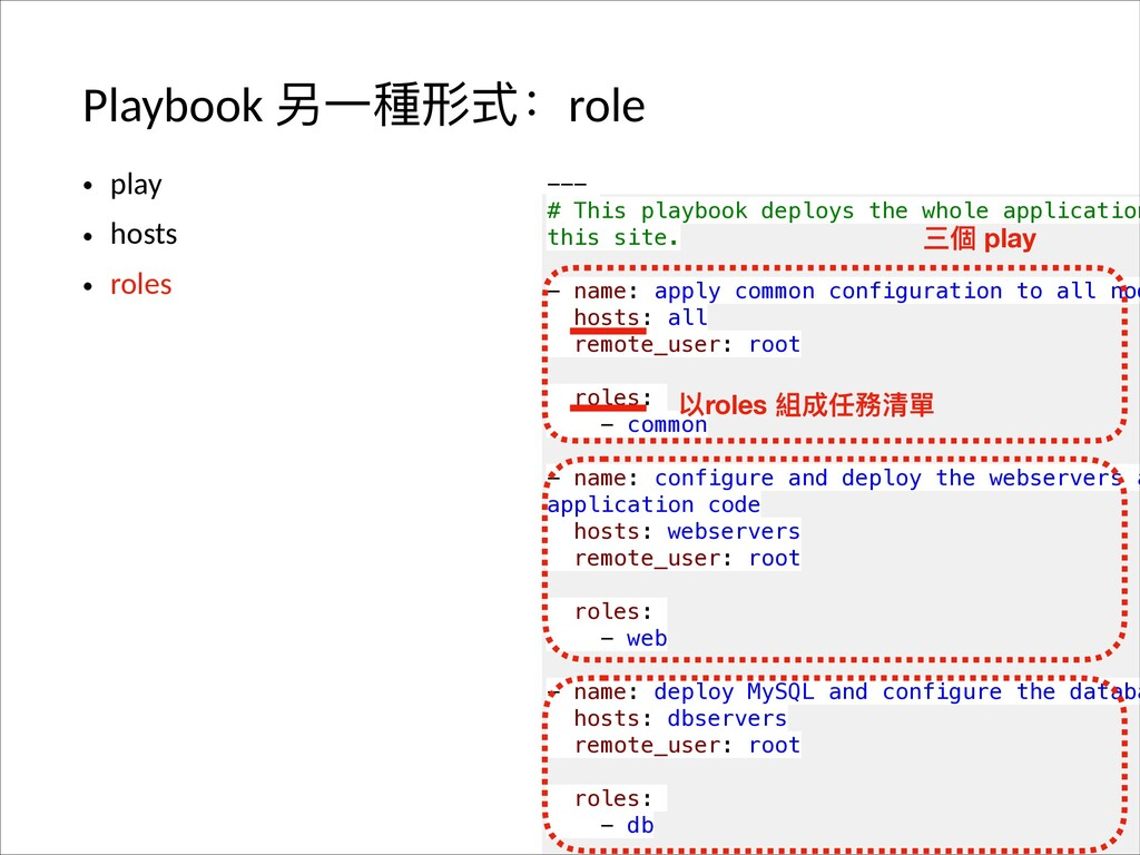 Playbook ݚӞ圵୵ୗғrole • play • hosts • roles --- ...