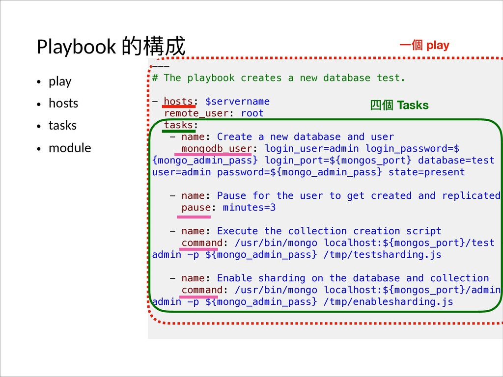 Playbook ጱ䯤౮ • play • hosts • tasks • module --...