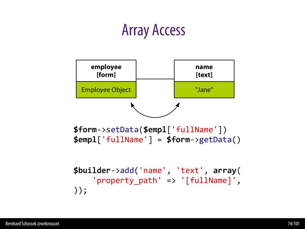 Bernhard Schussek @webmozart 74/101 Array Acces...