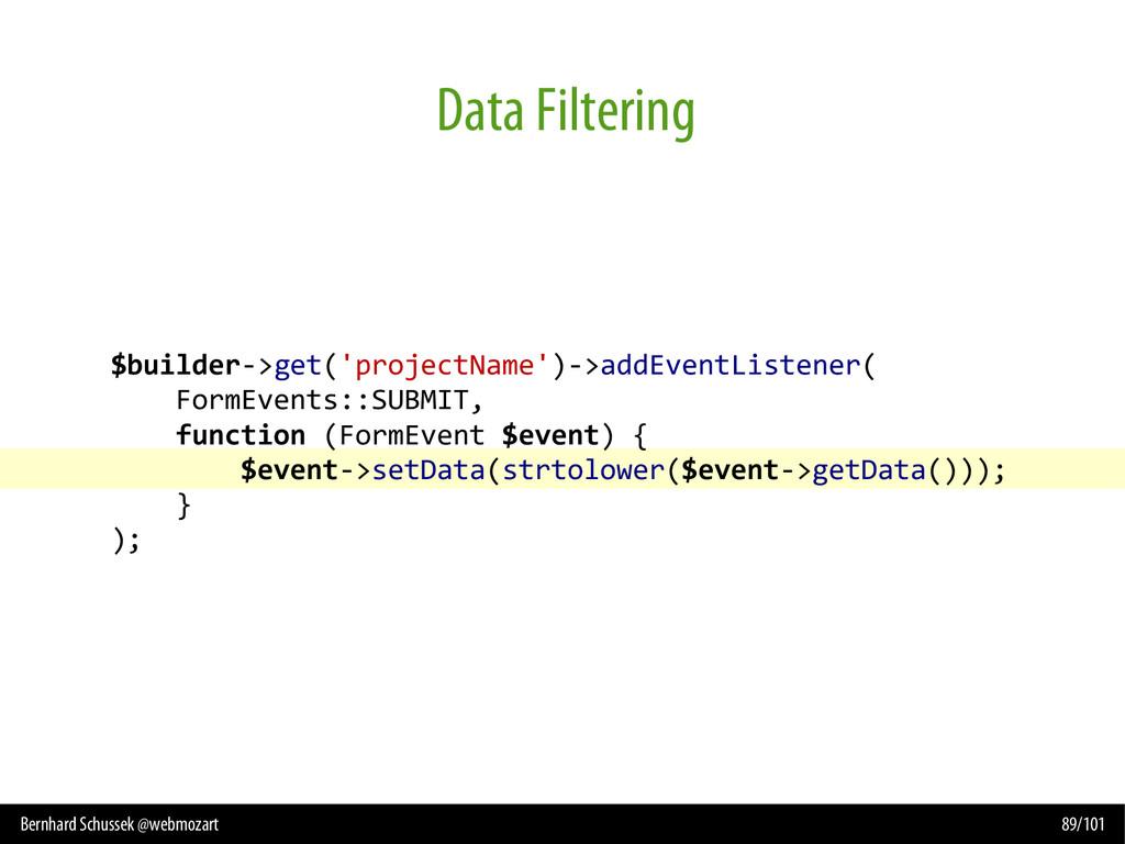 Bernhard Schussek @webmozart 89/101 Data Filter...