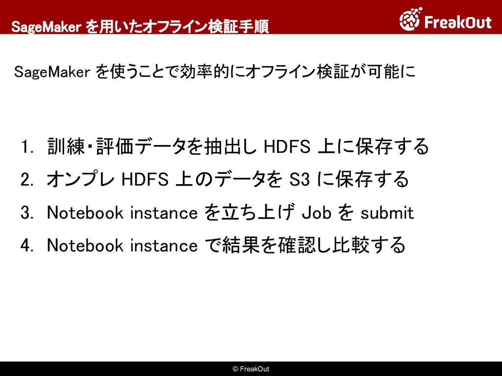 © FreakOut SageMaker を用いたオフライン検証手順 SageMaker を使...