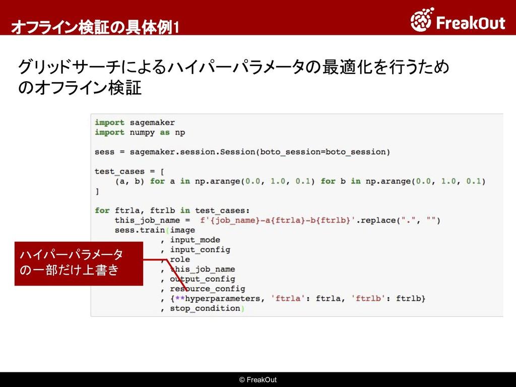 © FreakOut オフライン検証の具体例1 グリッドサーチによるハイパーパラメータの最適化...