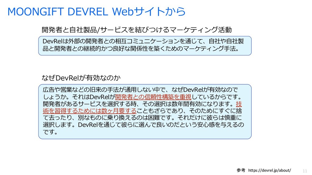 11 11 MOONGIFT DEVREL Webサイトから DevRelは外部の開発者との相...
