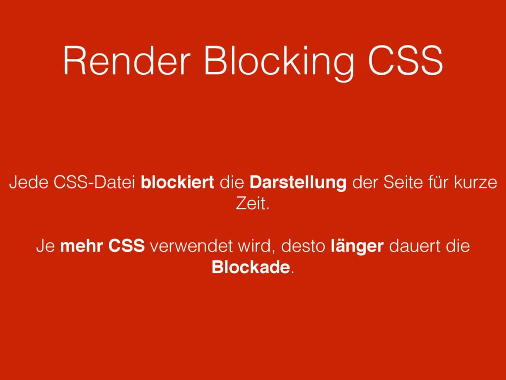 Render Blocking CSS Jede CSS-Datei blockiert di...