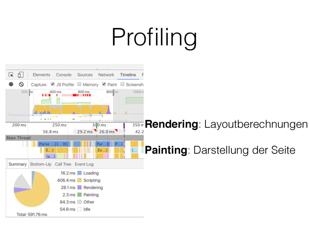 Profiling Rendering: Layoutberechnungen Painting...