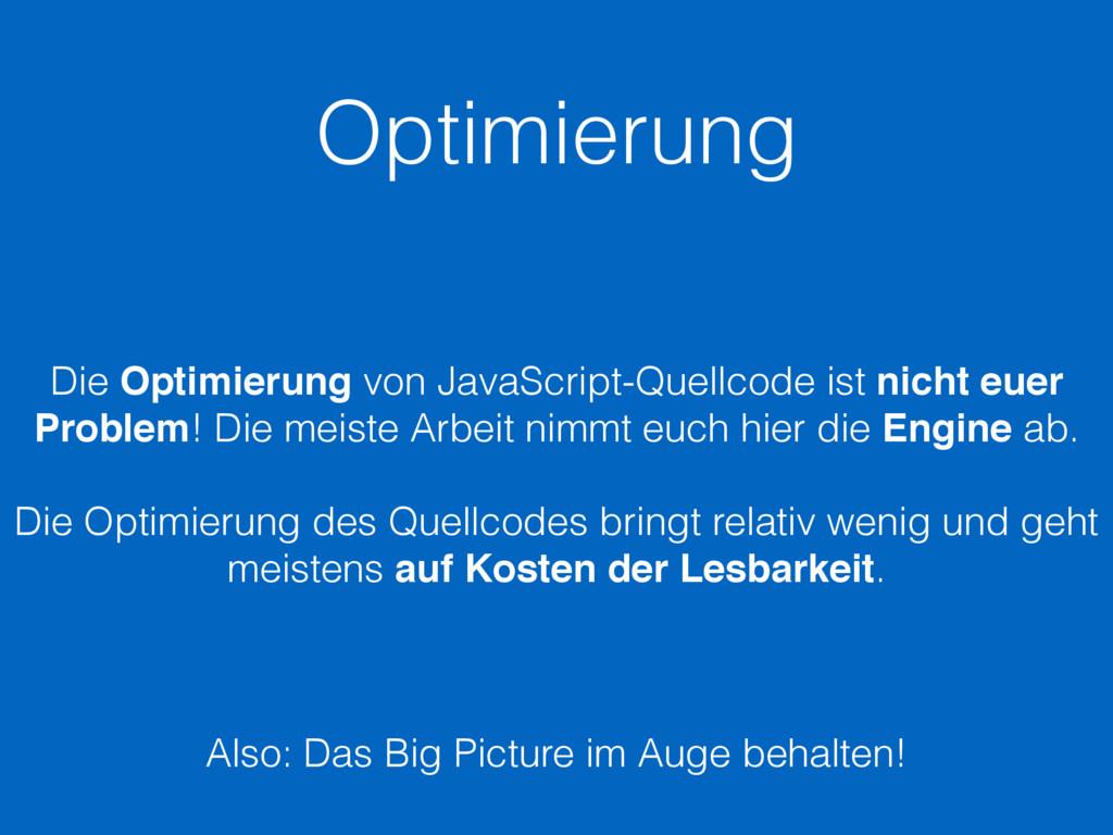 Optimierung Die Optimierung von JavaScript-Quel...