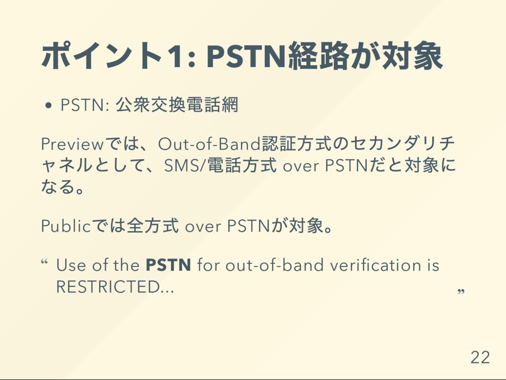 ポイント1: PSTN 経路が対象 PSTN: 公衆交換電話網 Preview では、Out-...