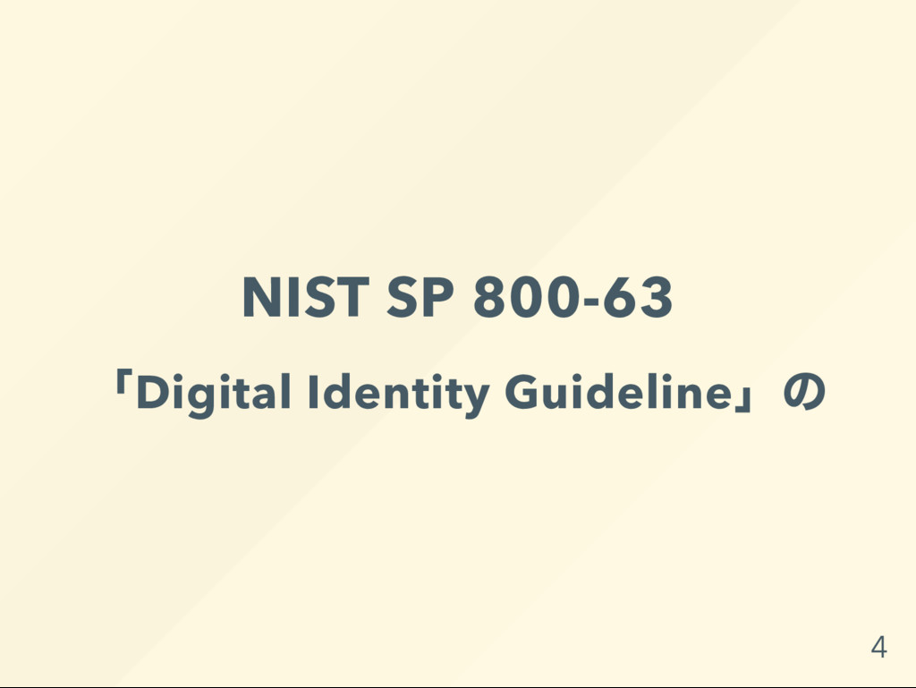 NIST SP 800-63 「Digital Identity Guideline」 の 4