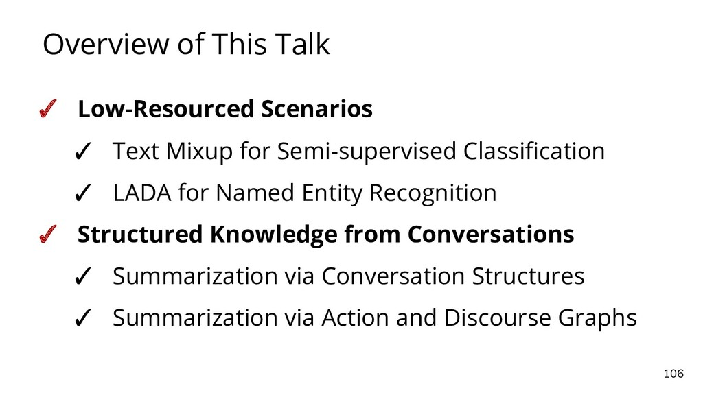 Overview of This Talk 106 ✓ Low-Resourced Scena...