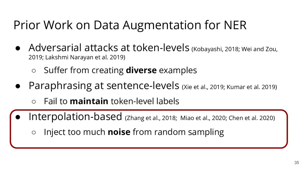 Prior Work on Data Augmentation for NER ● Adver...