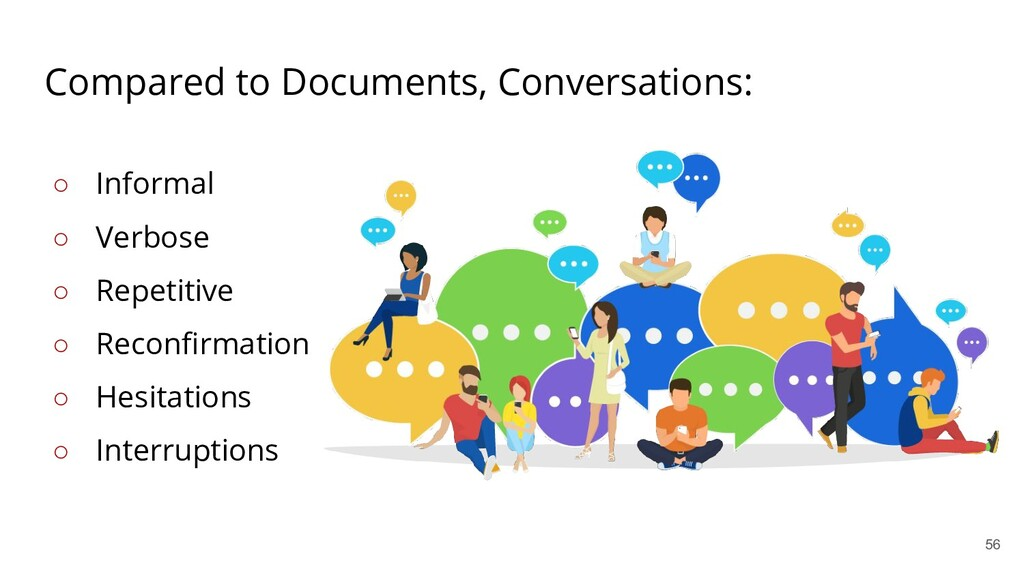 Compared to Documents, Conversations: ○ Informa...