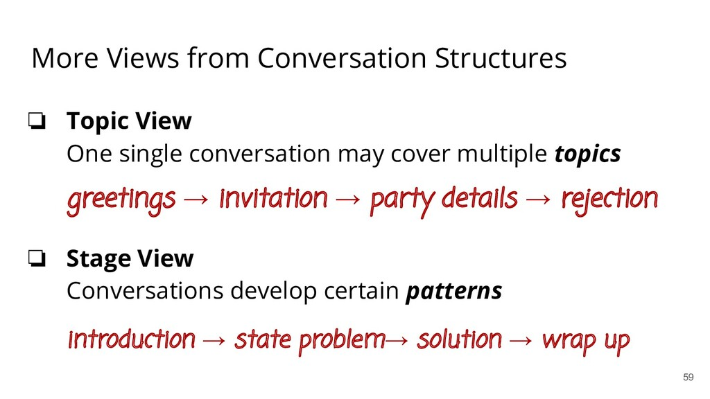 More Views from Conversation Structures ❏ Topic...