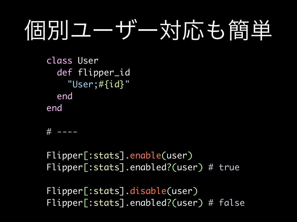 """ݸผϢʔβʔରԠ؆୯ class User def flipper_id """"User;#{i..."""