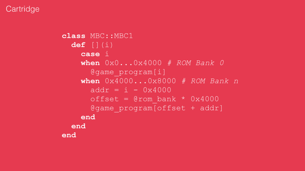 class MBC::MBC1 def [](i) case i when 0x0...0x4...