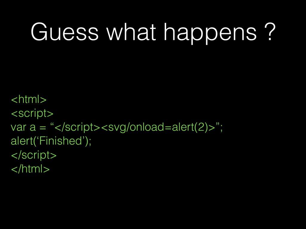 "Guess what happens ? <html> <script> var a = ""<..."