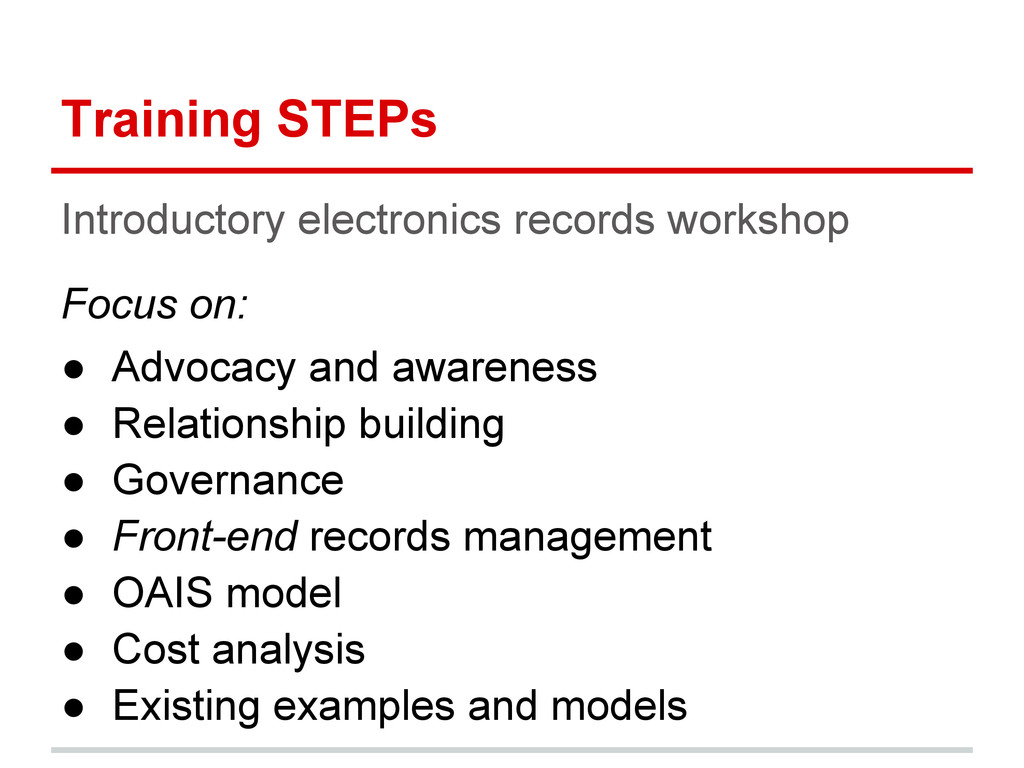 Training STEPs Introductory electronics records...
