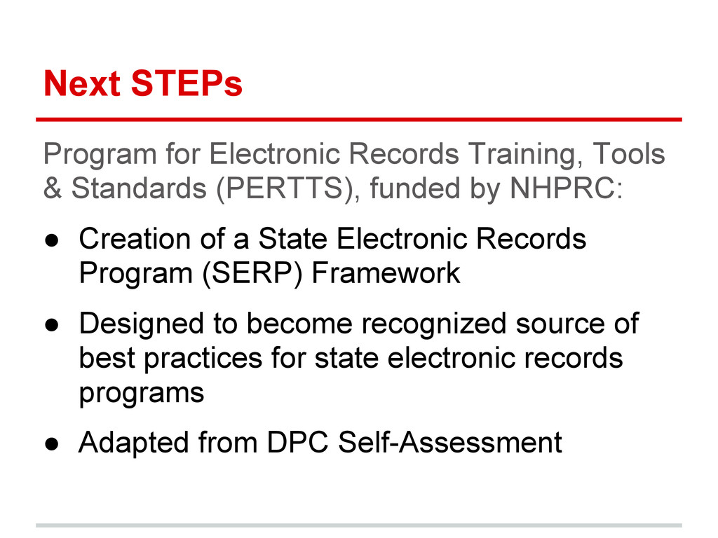 Next STEPs Program for Electronic Records Train...