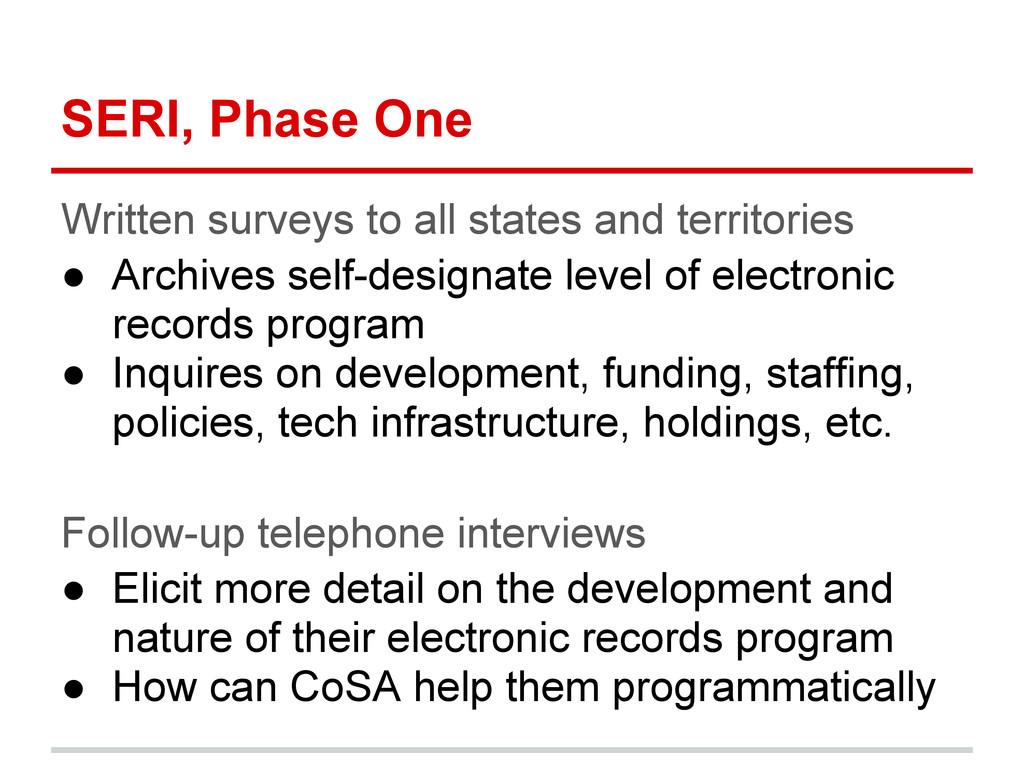 SERI, Phase One Written surveys to all states a...