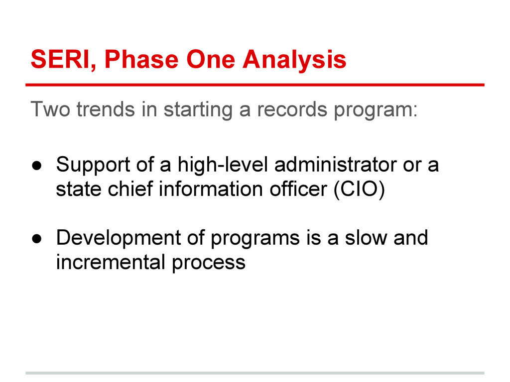 SERI, Phase One Analysis Two trends in starting...