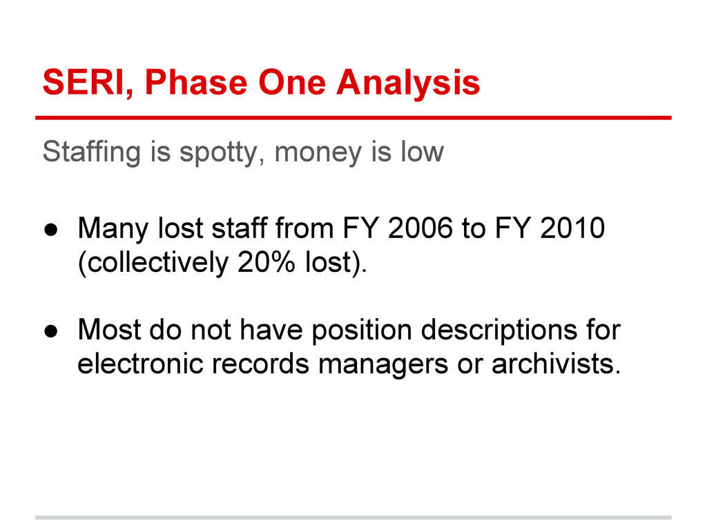SERI, Phase One Analysis Staffing is spotty, mo...