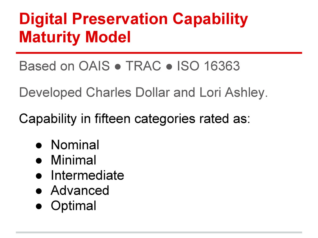 Digital Preservation Capability Maturity Model ...