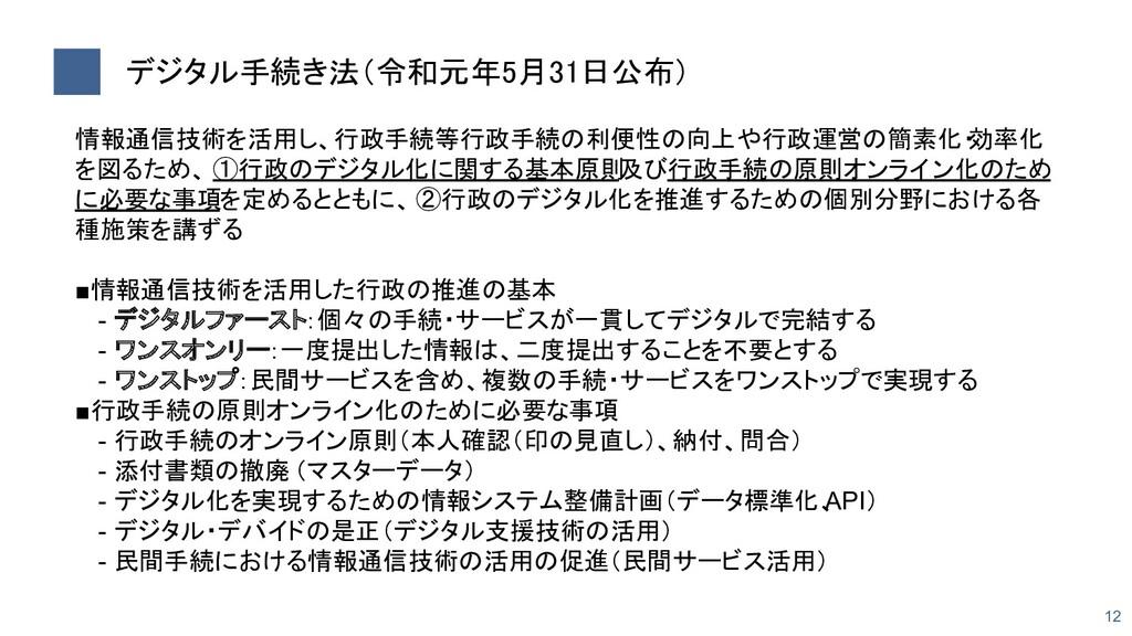 デジタル手続き法(令和元年5月31日公布) 12 情報通信技術を活用し、行政手続等行政手続の...