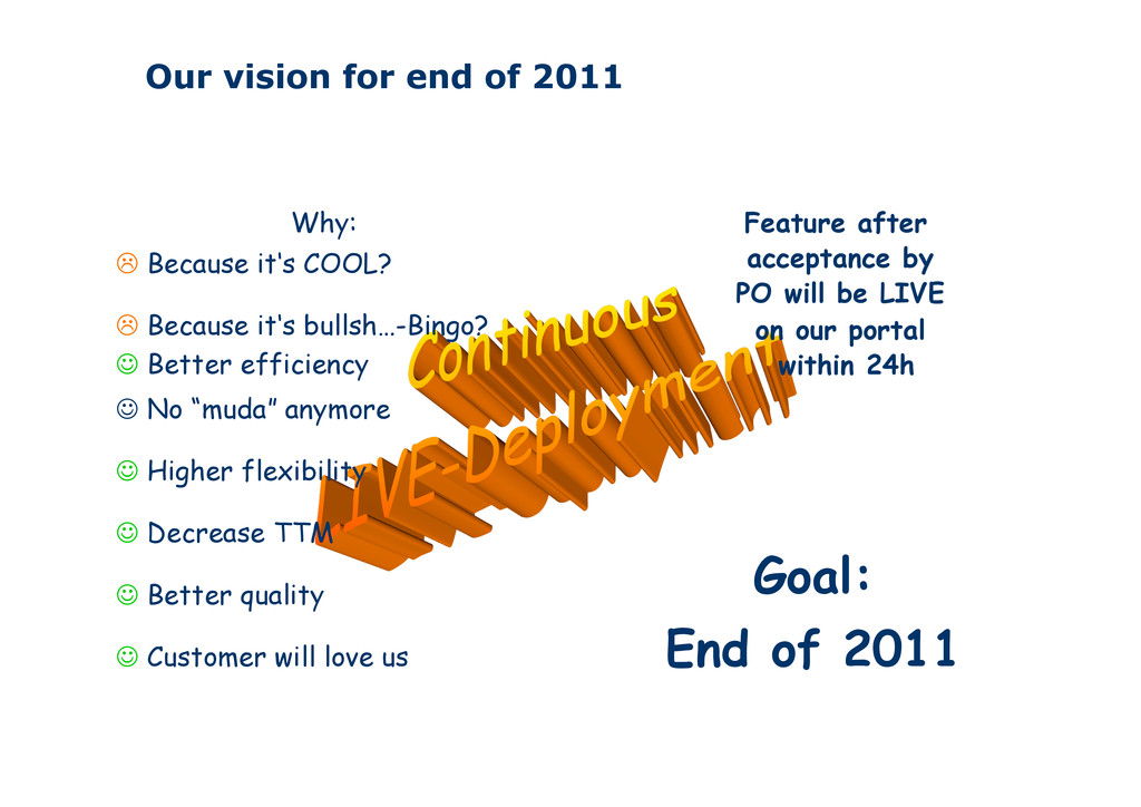Our vision for end of 2011 Feature after accept...