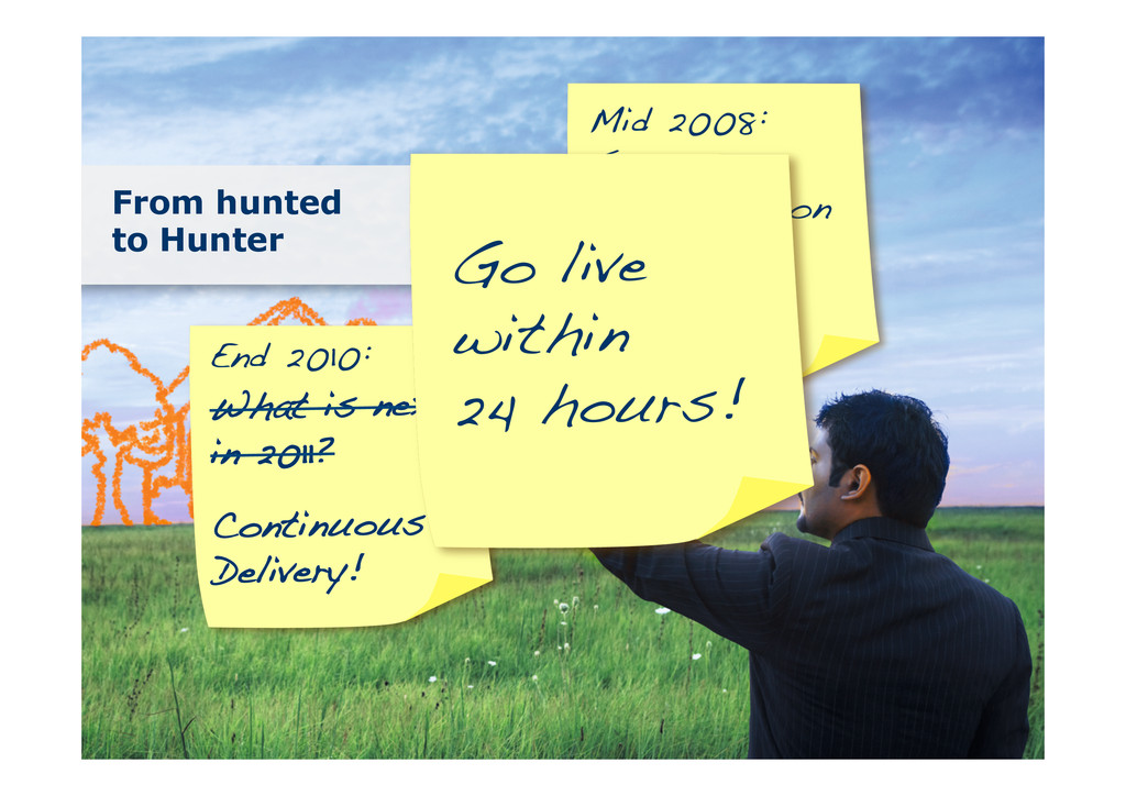 From hunted to Hunter Mid 2008: Scrum Introduct...