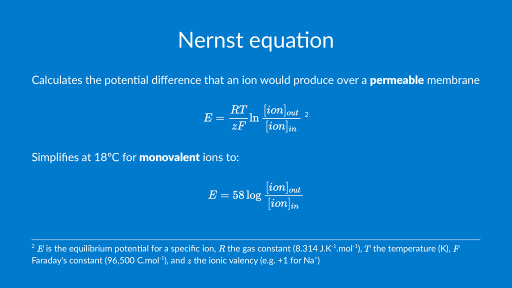 Nernst equa+on Calculates the poten.al differenc...