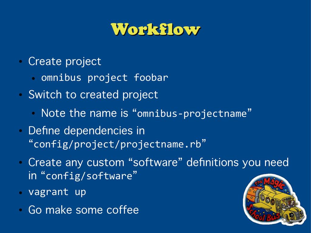 Workflow Workflow ● Create project ● omnibus pr...
