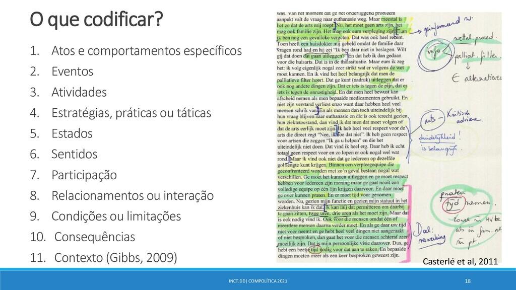 INCT.DD| COMPOLÍTICA 2021 18 O que codificar? 1...