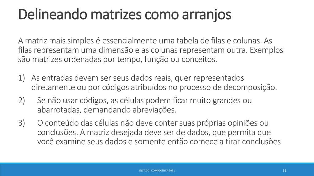 INCT.DD| COMPOLÍTICA 2021 31 Delineando matrize...