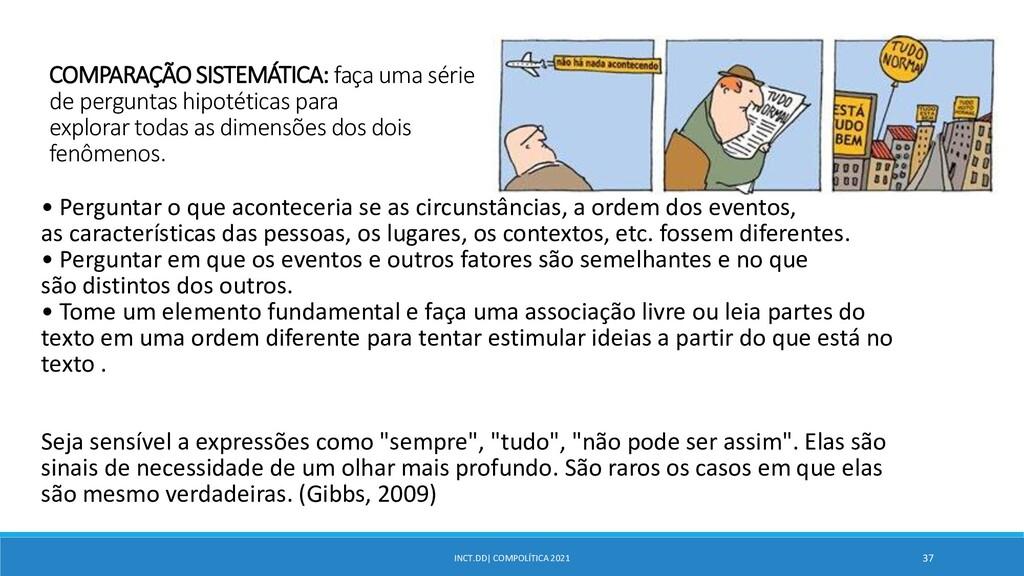 INCT.DD| COMPOLÍTICA 2021 37 COMPARAÇÃO SISTEMÁ...